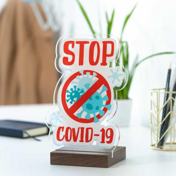 Dekoaufsteller Stop Covid-19