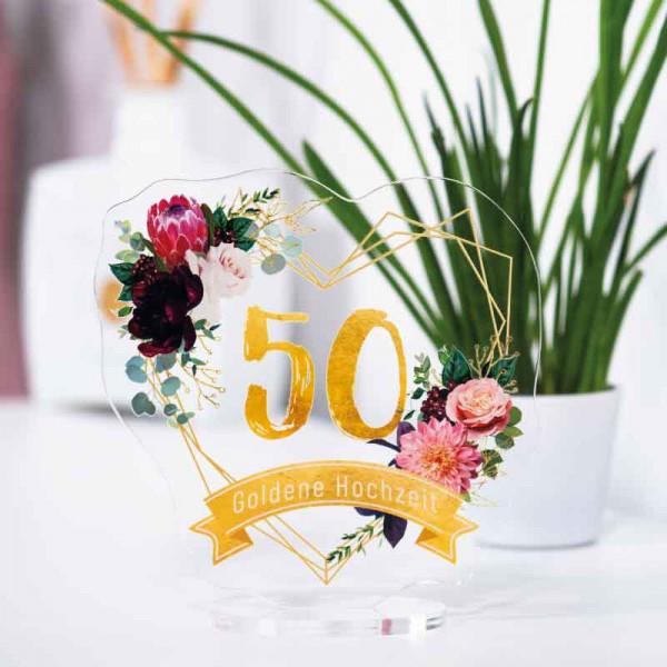 Dekoaufsteller Goldene Hochzeit 50 Jahre