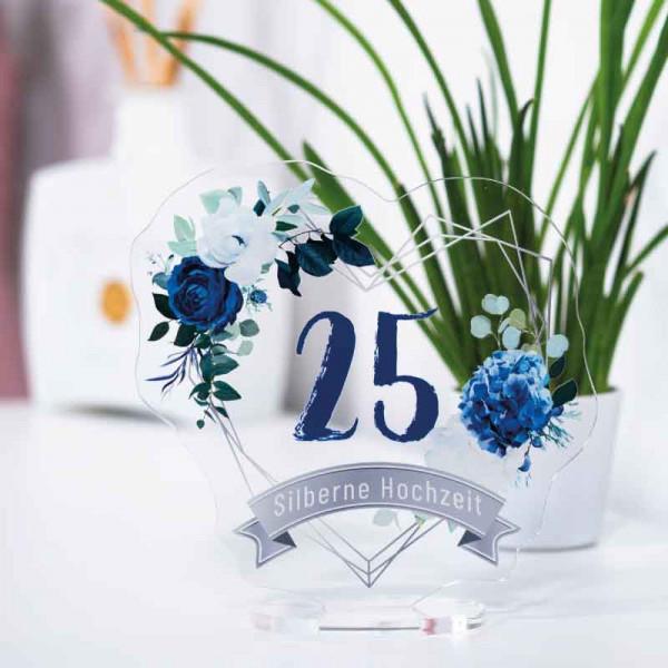 Dekoaufsteller Silberne Hochzeit 25 Jahre