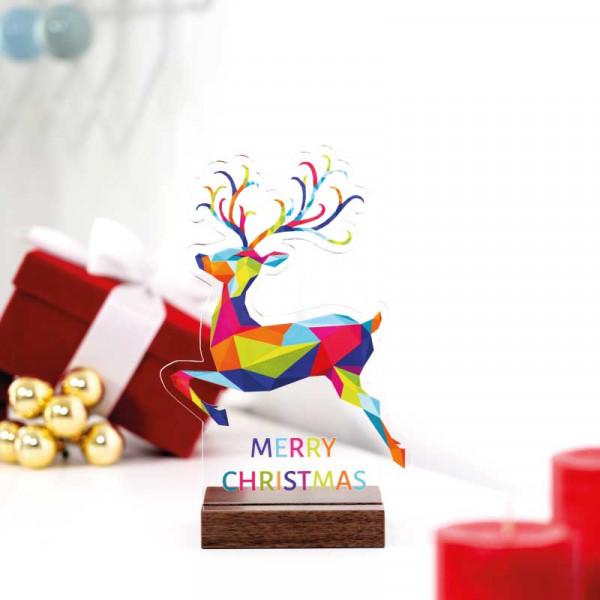 Dekoaufsteller Rentier Merry Christmas