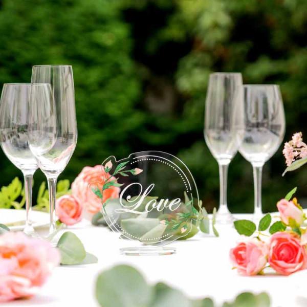 Dekoaufsteller Love mit Blumen
