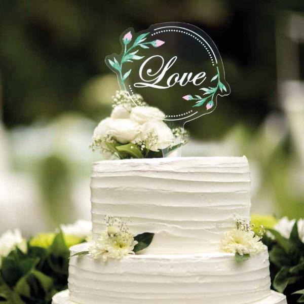 Cake Topper Love mit Blumen