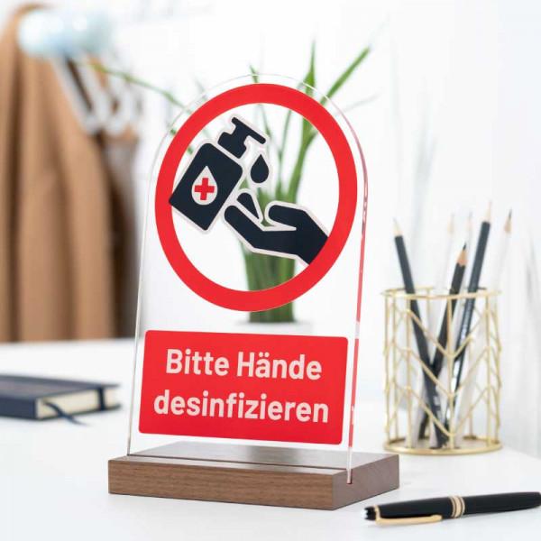 Dekoaufsteller Bitte Hände desinfizieren