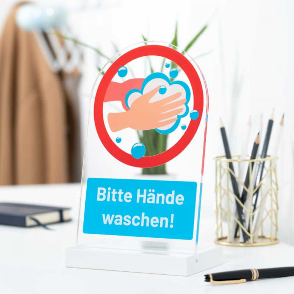 Dekoaufsteller Bitte Hände waschen