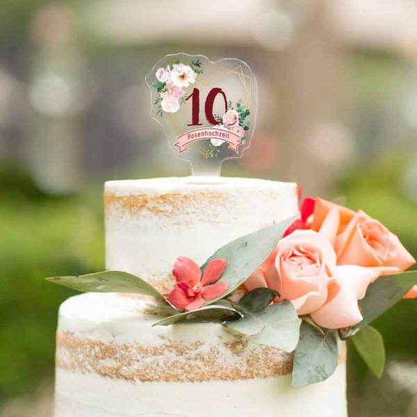 Cake Topper Rosenhochzeit 10 Jahre