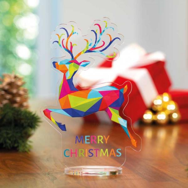 Dekoaufsteller Rentier Christmas Acrylfuß