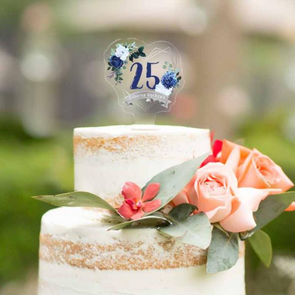 Cake Topper Silberne Hochzeit 25 Jahre