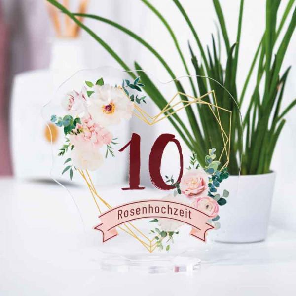Dekoaufsteller Rosenhochzeit 10 Jahre